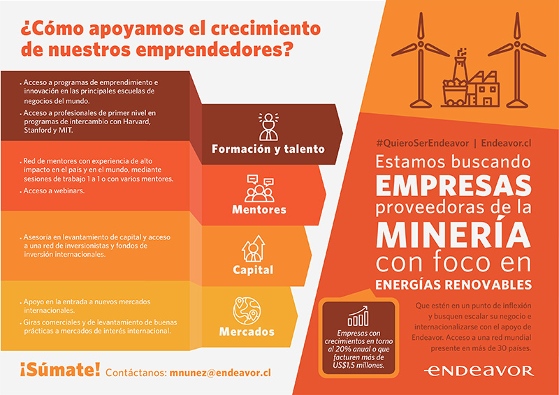 Endeavor Chile busca Proveedores en Minería